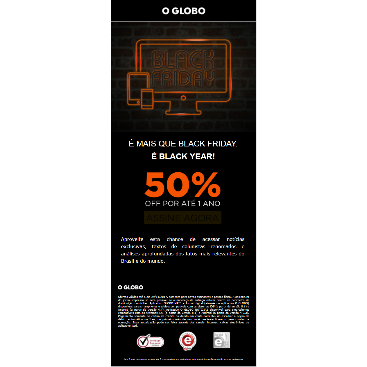 O Globo Black Friday promotion
