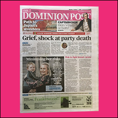 The Dominion Post goes pink to support Breast Cancer Foundation NZ