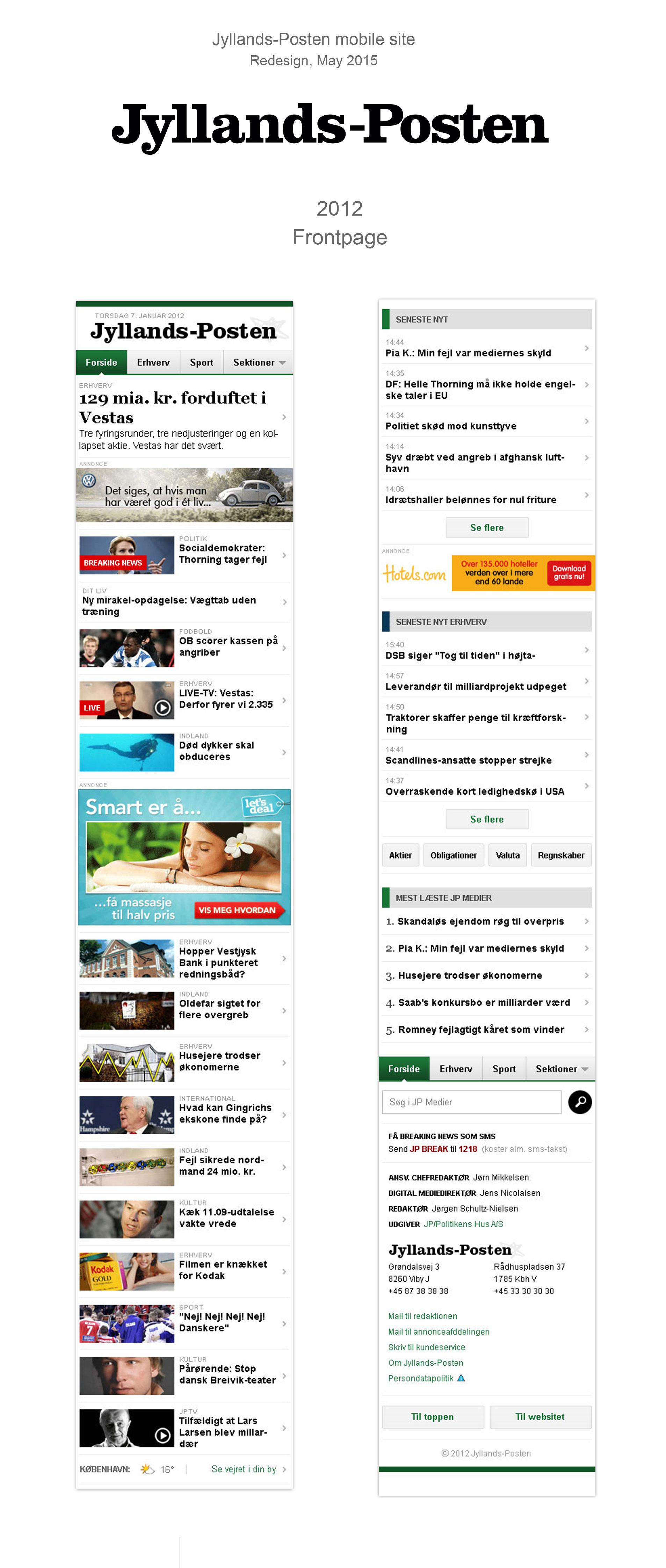 Jyllands-Posten mobile site, redesign