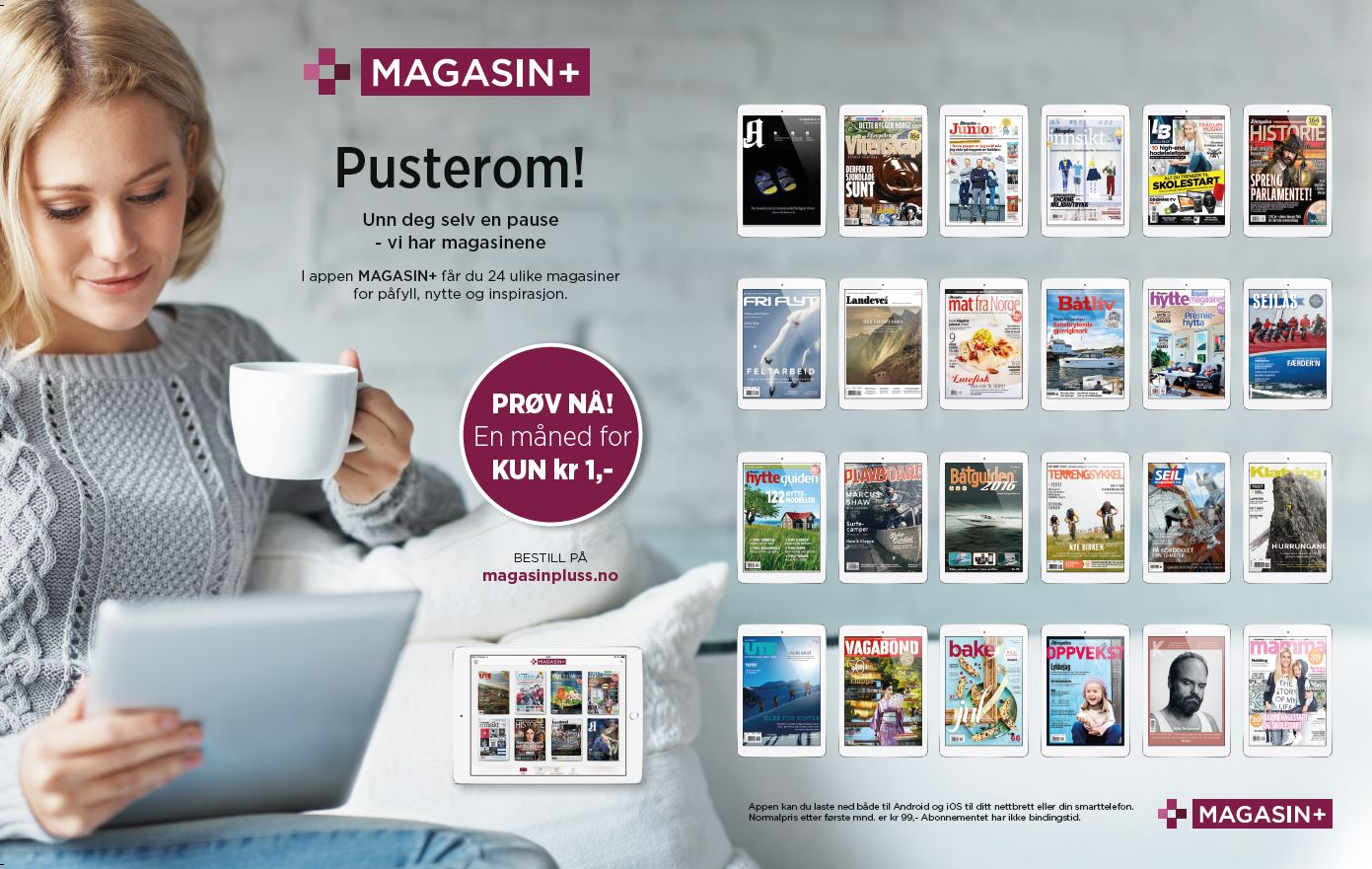 MAGASIN+,  2500 magazine issues in one app subscription.