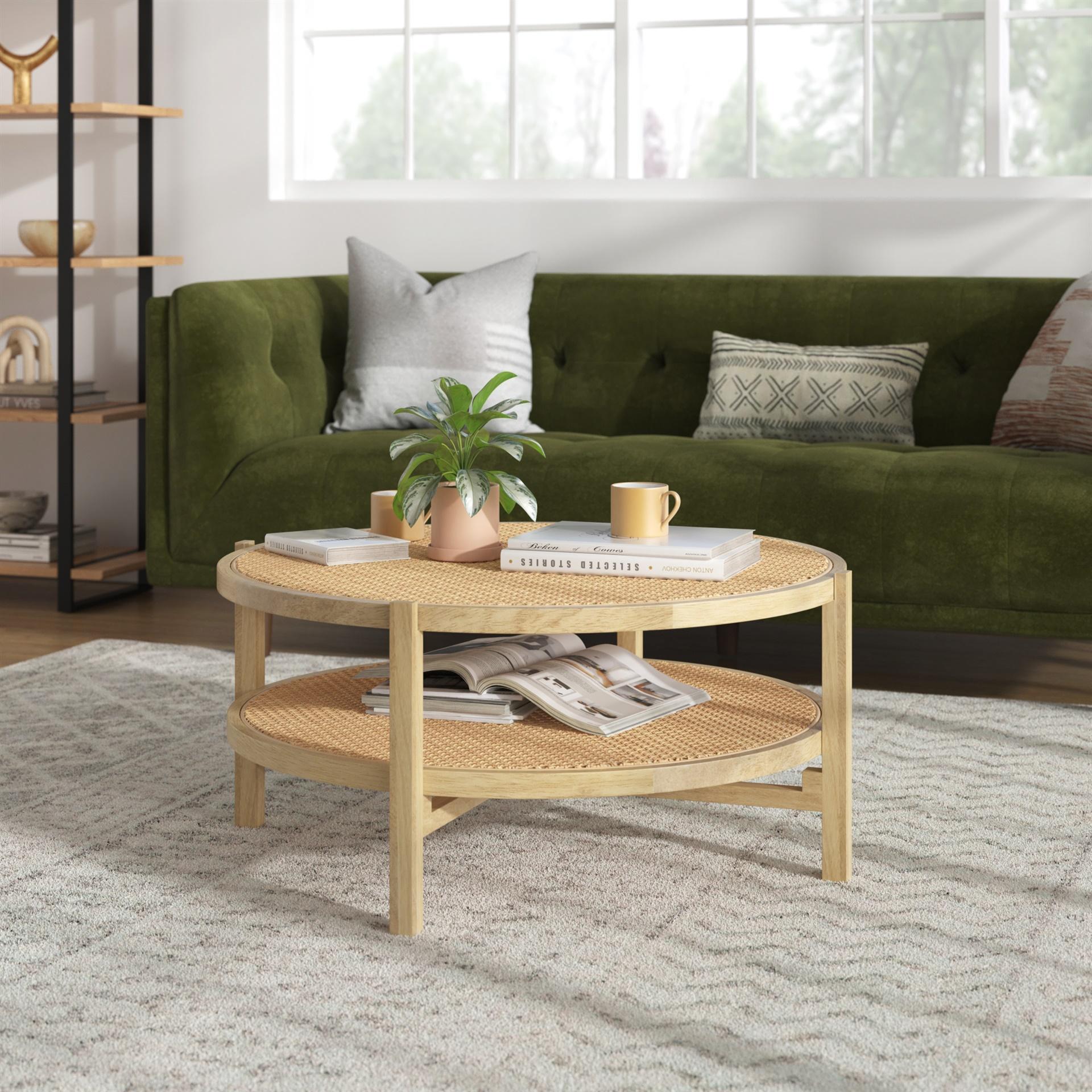 rattan wicker 2 tier coffee table from inmod.com