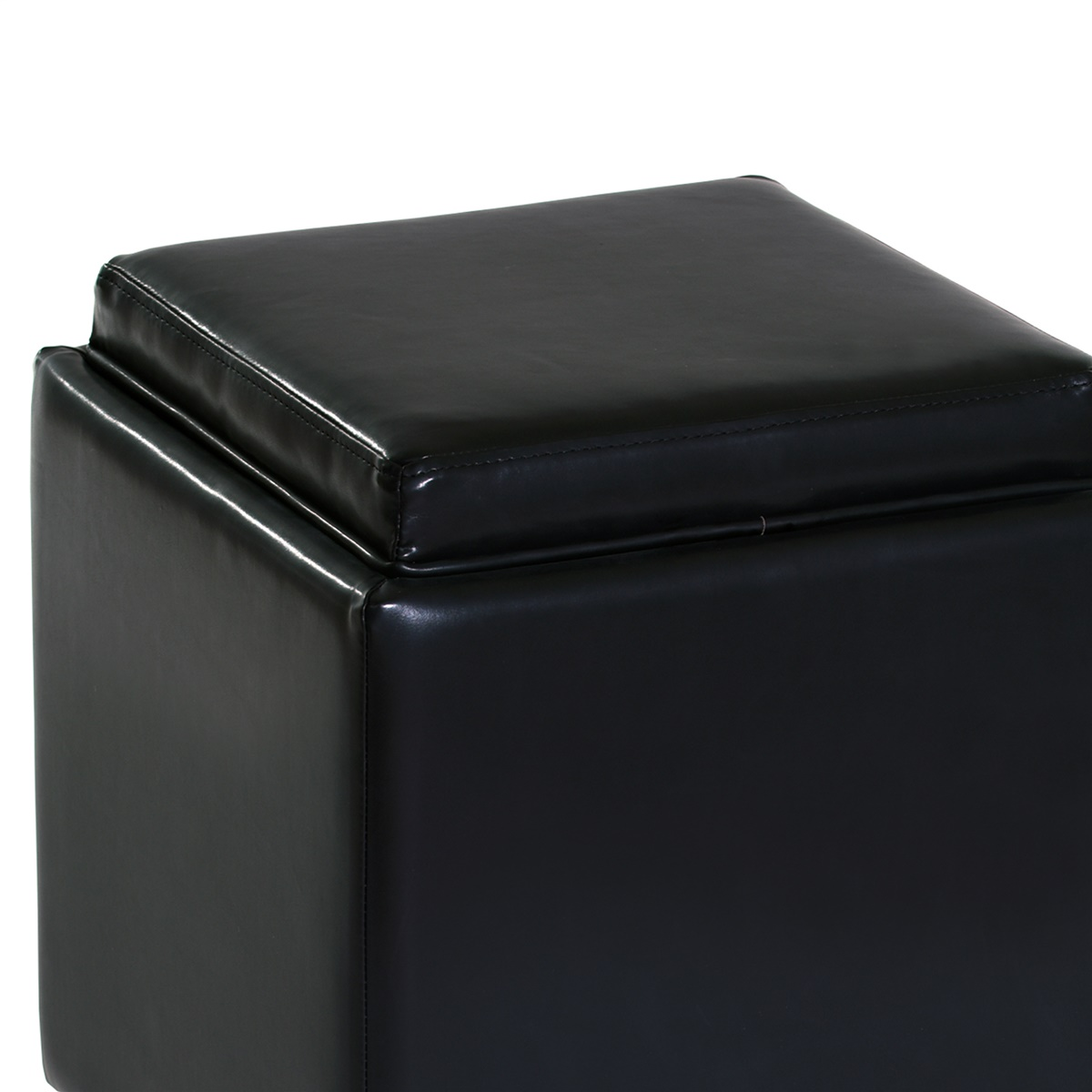 Remarkable Rainbow Leather Storage Ottoman With Tray Gmtry Best Dining Table And Chair Ideas Images Gmtryco