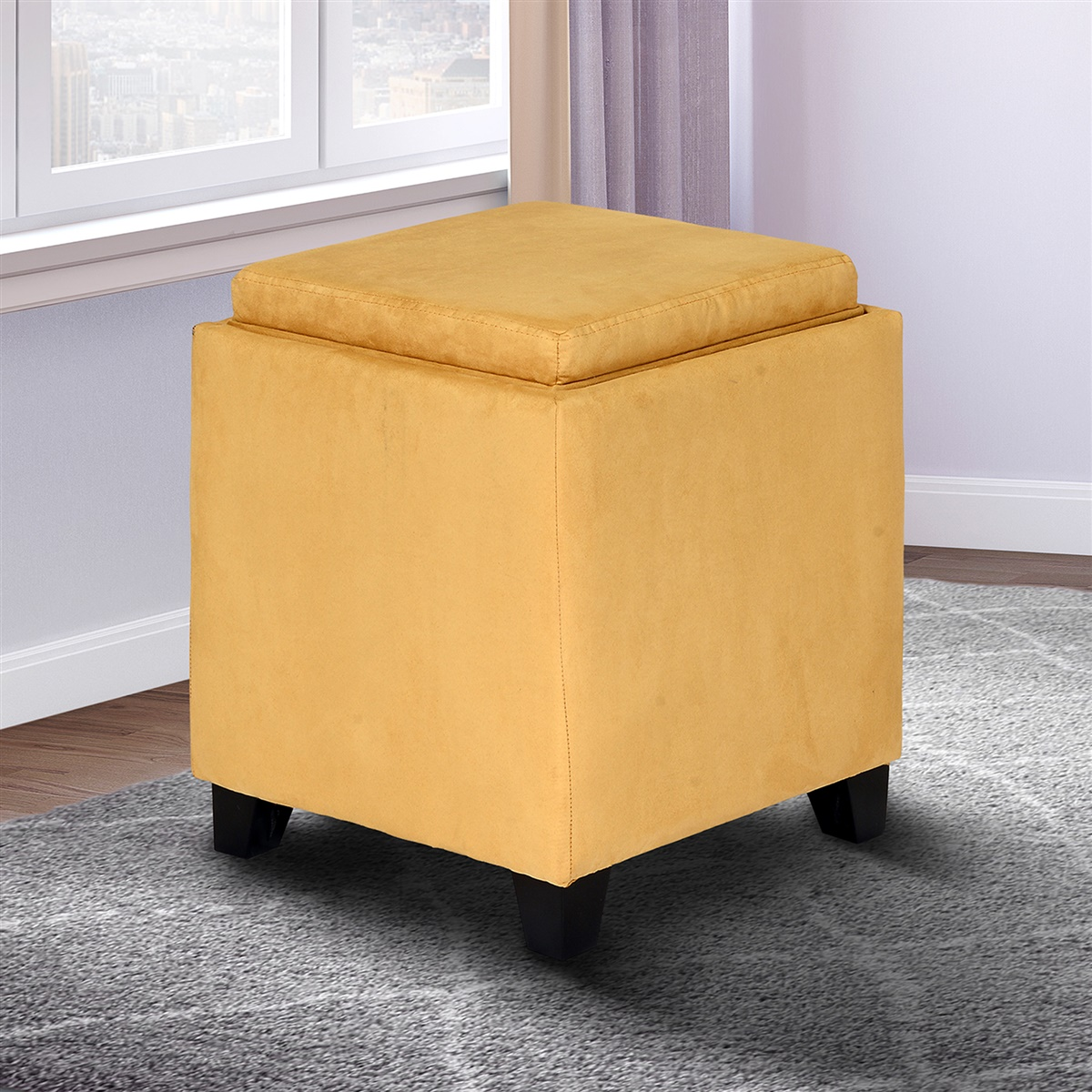 Awesome Rainbow Microfiber Storage Ottoman With Tray Uwap Interior Chair Design Uwaporg