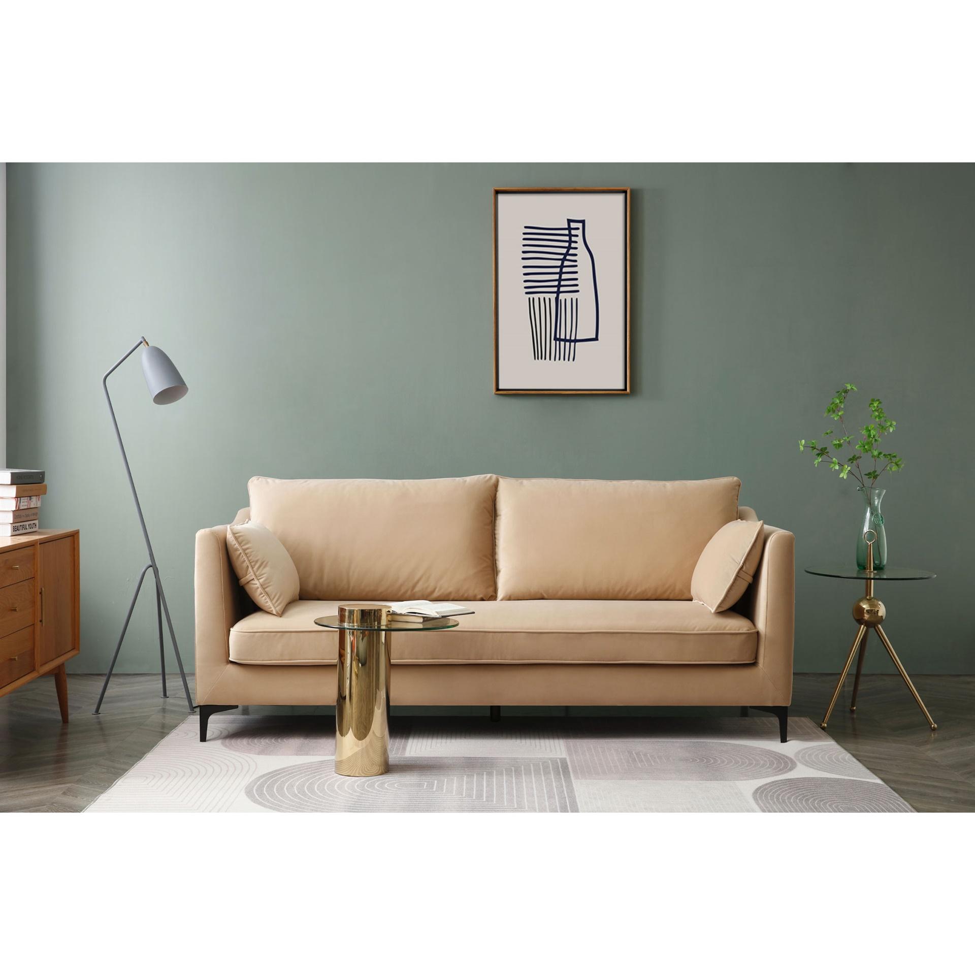 metal bracket legs velvet sofa padstyle.com