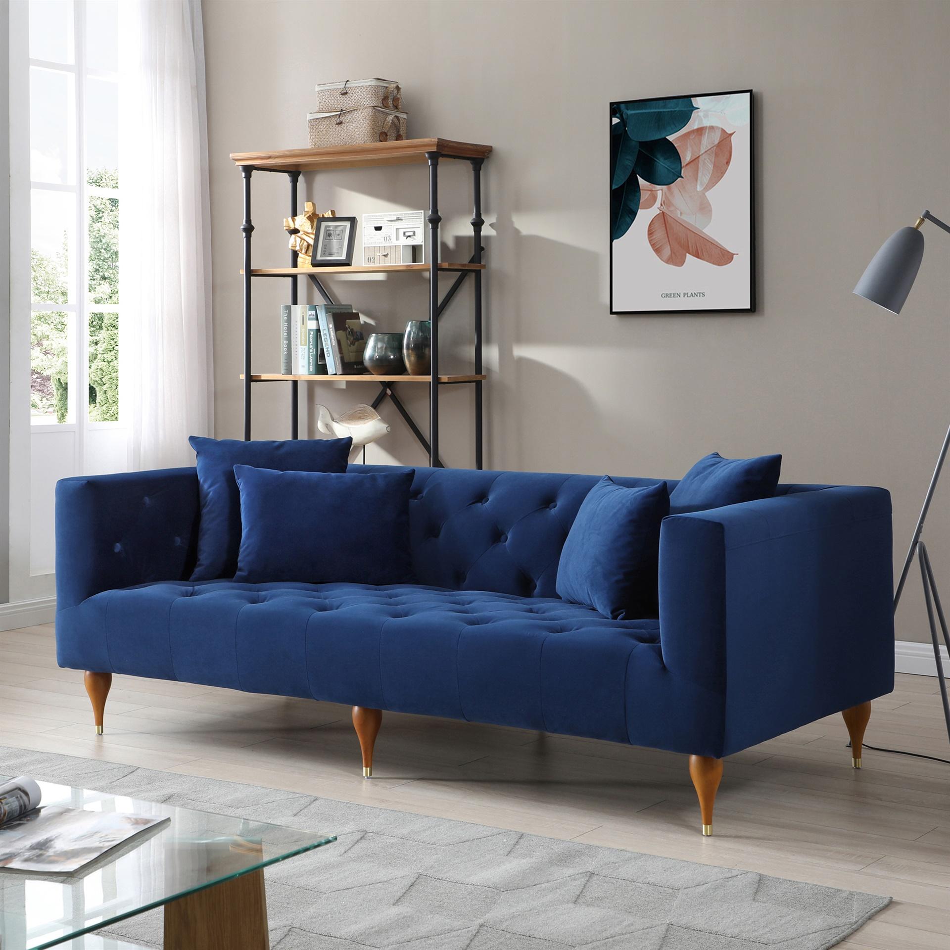 reverse hourglass legs velvet sofa padstyle
