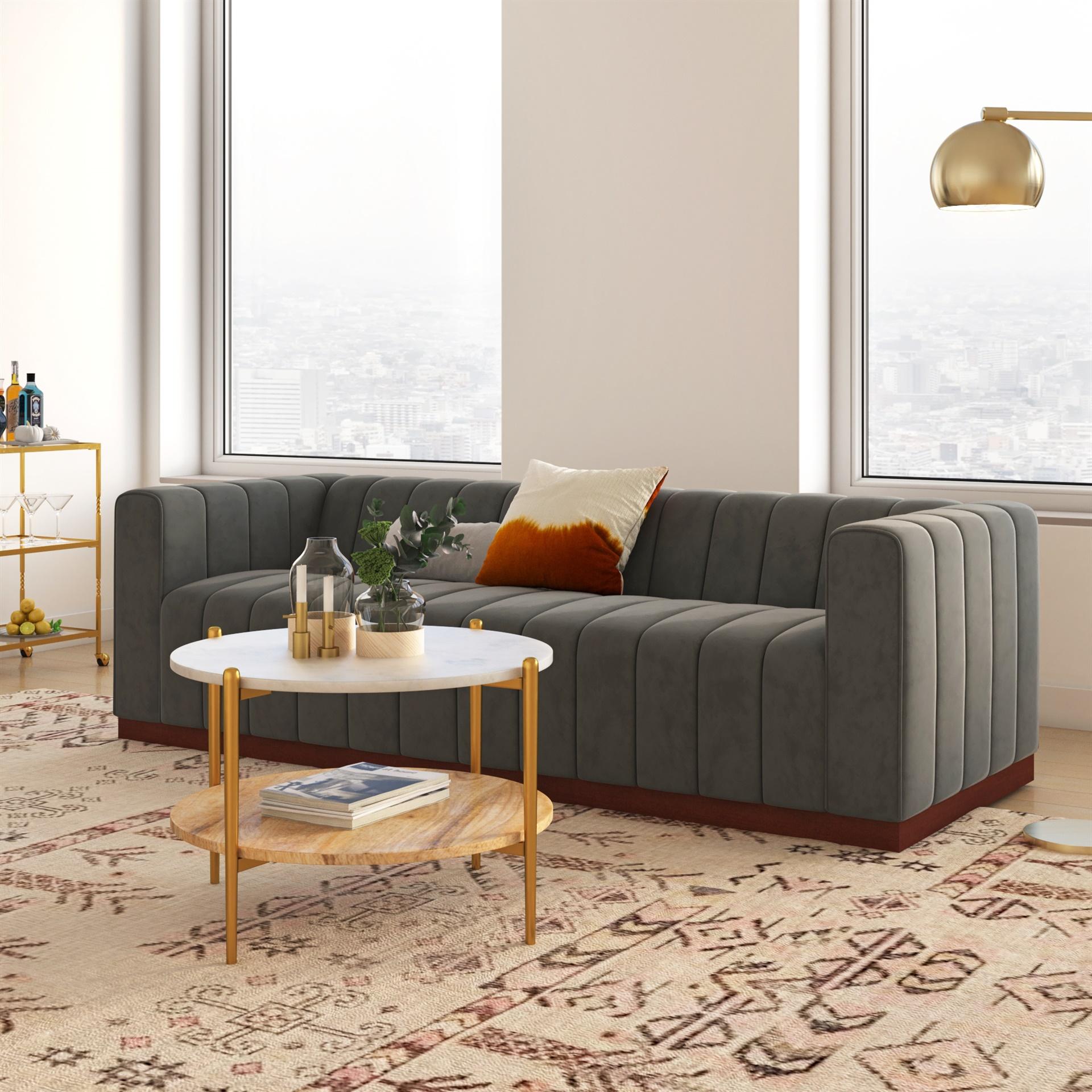 block wood base velvet sofa padstyle.com