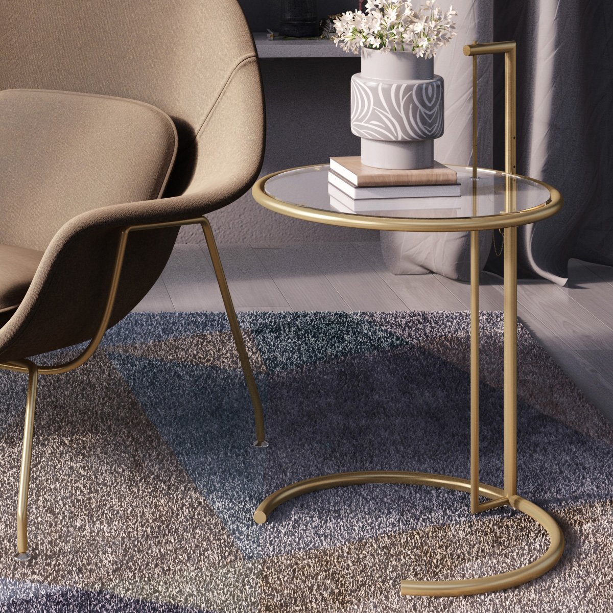 Attirant Eileen Grey Side Table (Brass)