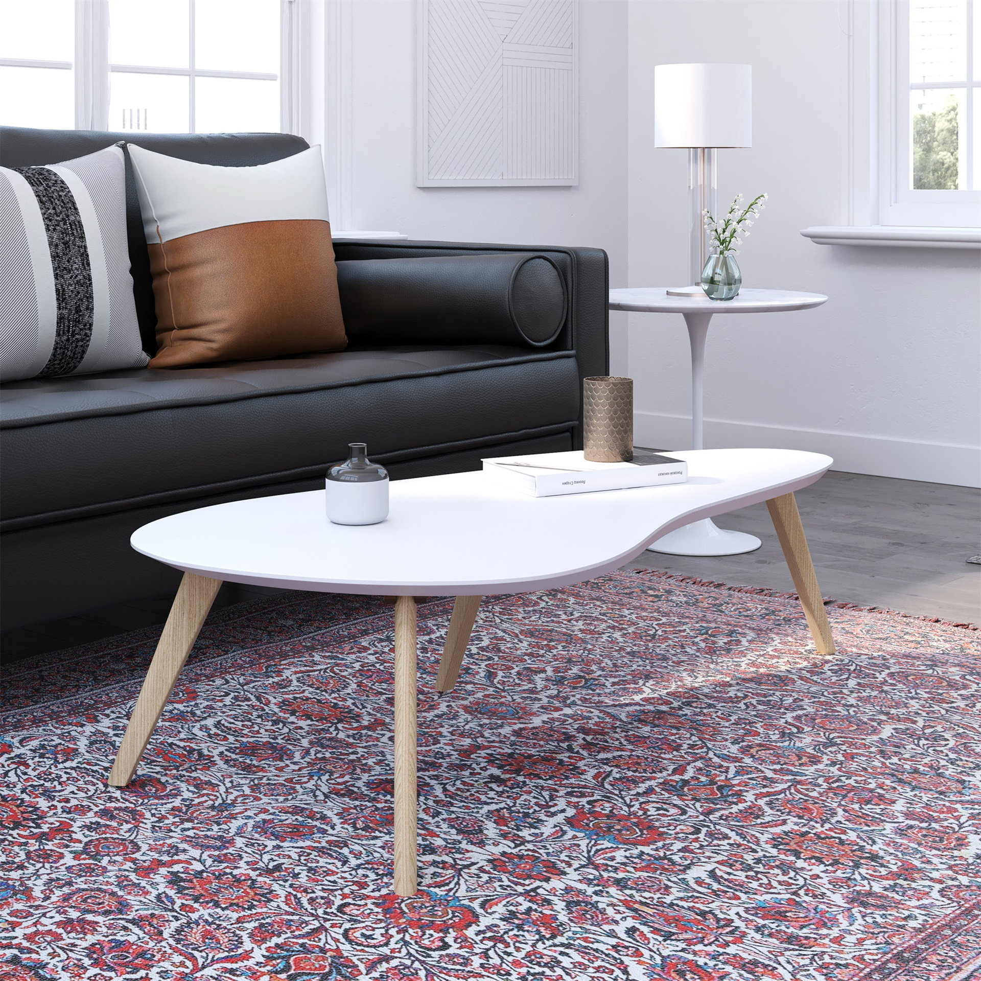 - Kidney Shaped Coffee Table (White Top)