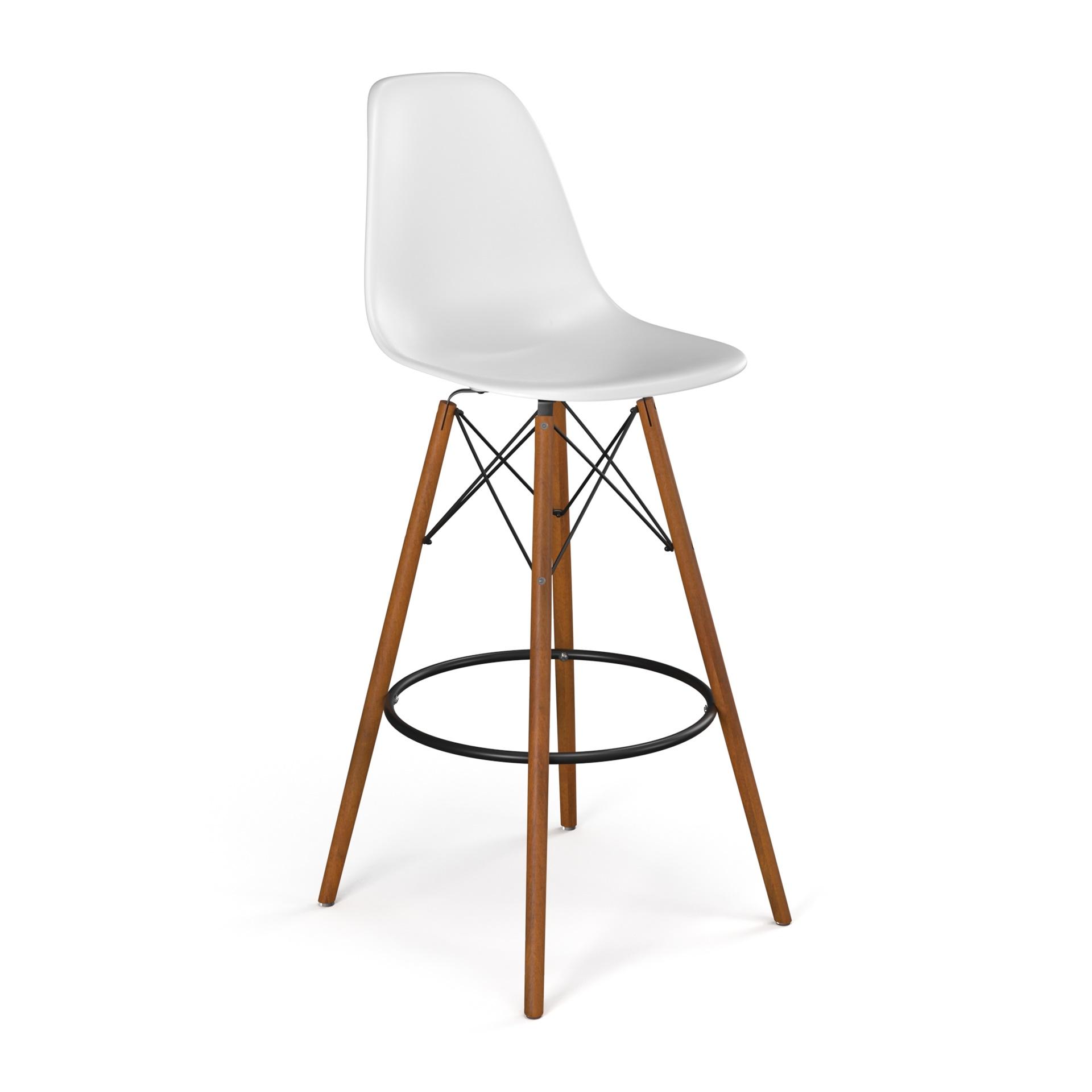 Molded plastic bar stool with wood legs
