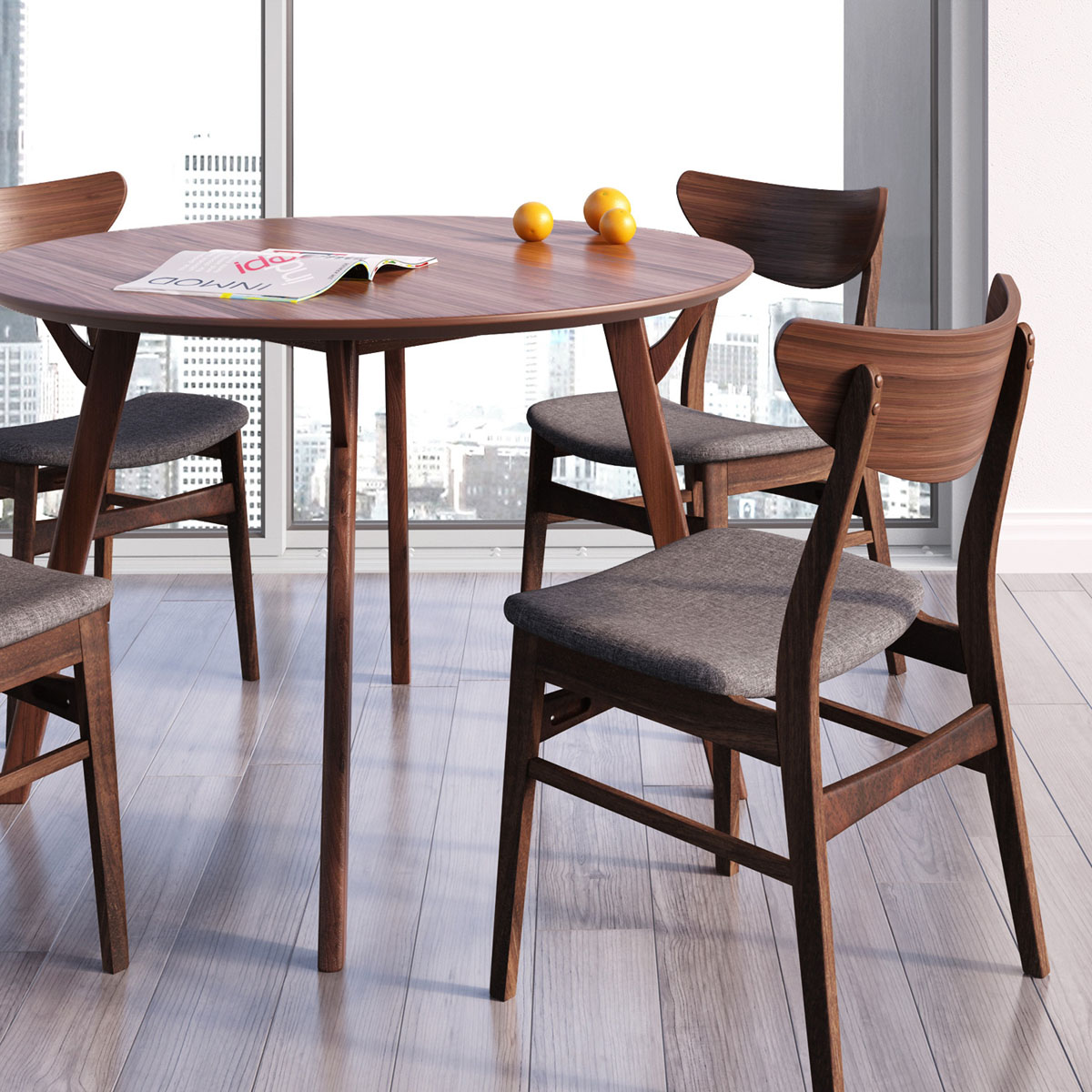Scandi Round Dining Table - Walnut color dining table