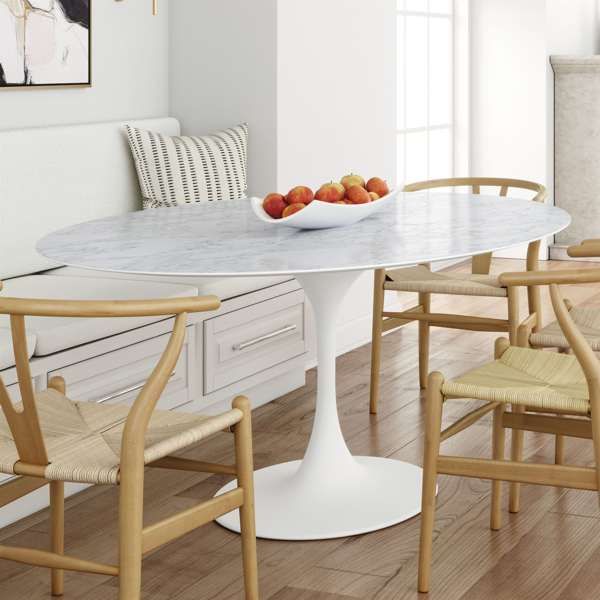 Sienna Pedestal Oval Marble Dining Table