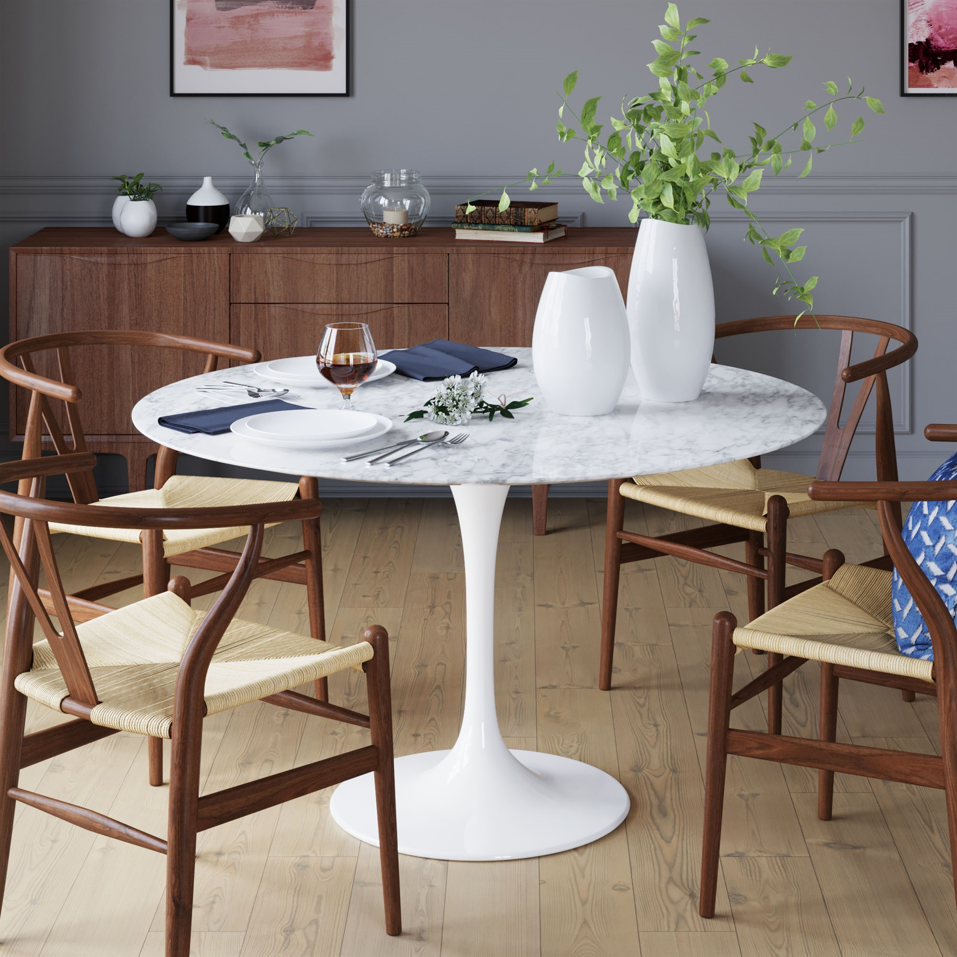 Sienna Pedestal Round Marble Dining Table