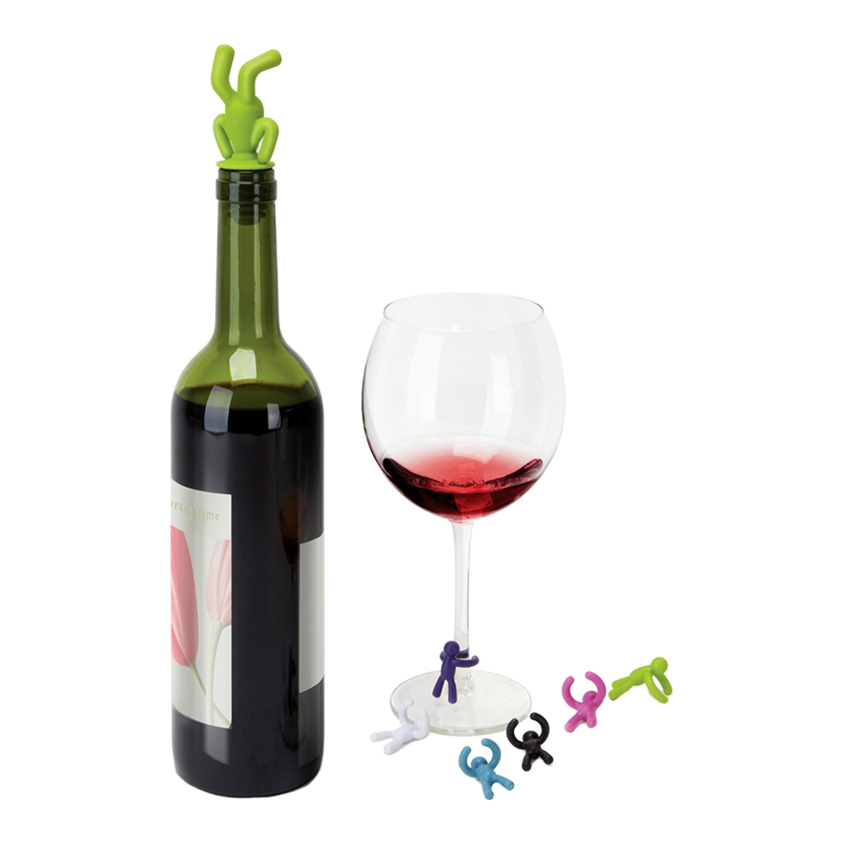 Drinking Buddy Wine Bottle Stopper And Wine Glass Markers