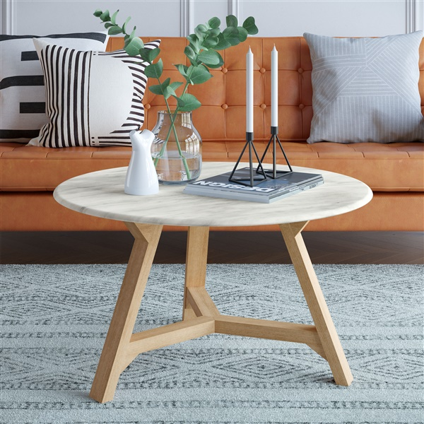 Anders Coffee Table (Faux Marble / Walnut)