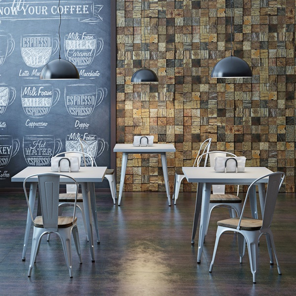 Bastille Caf� Chair w/  Weathered Wood Seat (Silver)