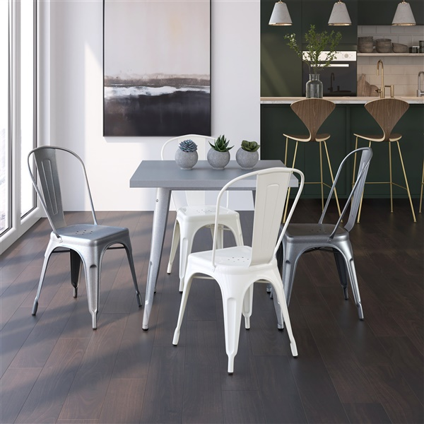 Bastille Cafe Stacking Chair (Silver)