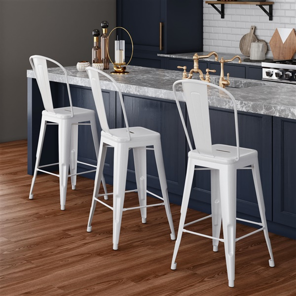 Bastille Counter Stool with Back (Silver)