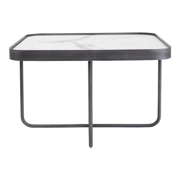Anna End Table (Low / White Calcatta)