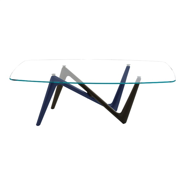 Esse Dining Table (Glass / Gray and Blue)