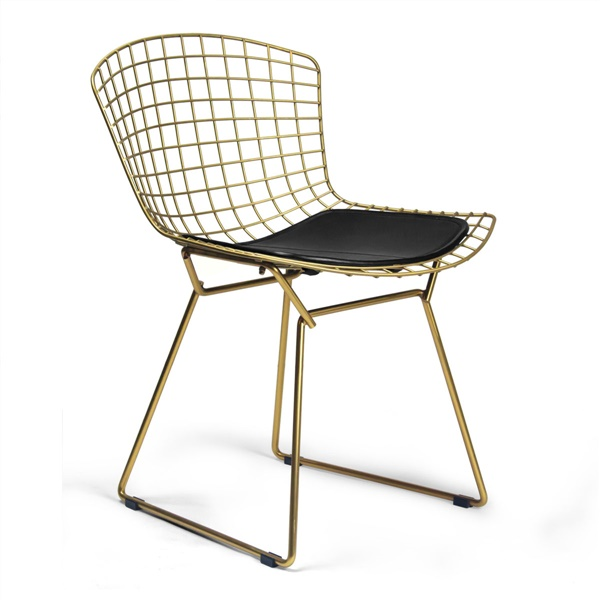 Bertoia Side Chair (Brass) with Ink Black Seat Cushion