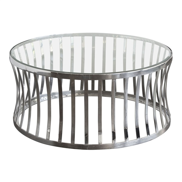 Capri Round Cocktail Table with Stainless Steel