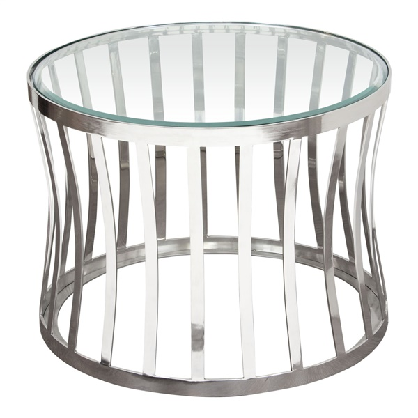 Capri Round End Table with Stainless Steel