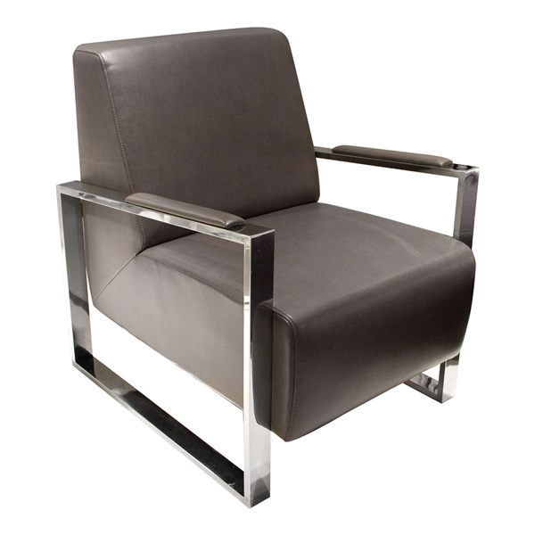 Century Accent Chair with Stainless Steel Frame (Elephant Gray)