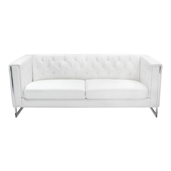 Chelsea Leatherette Sofa with Metal Leg - White