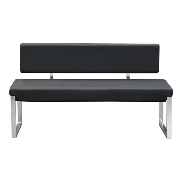 Knox Bench with Back/Stainless Steel Frame (Black)