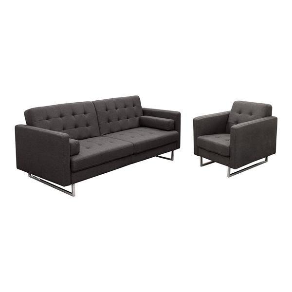 Opus Convertible Tufted Sofa & Chair (Chocolate)