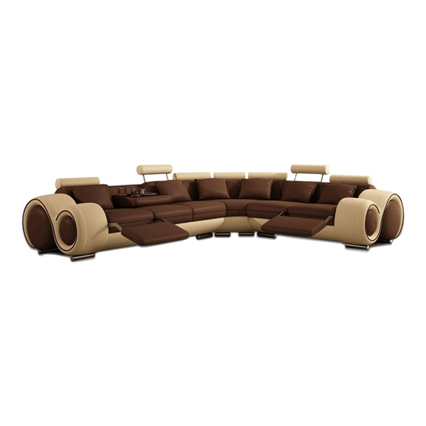 Divani Casa 4087 - Modern Leather Sectional Sofa (Brown / Beige)
