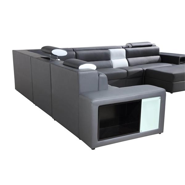 Divani Casa Polaris - Contemporary Bonded Leather Sectional Sofa (Black)