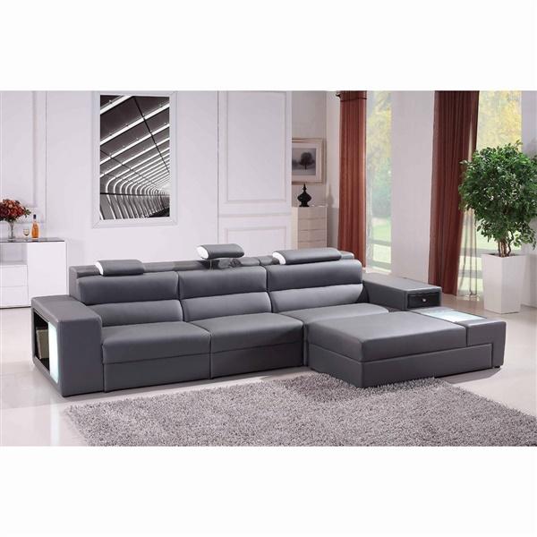 Divani Casa Polaris-Mini - Contemporary Bonded Leather Sectional Sofa