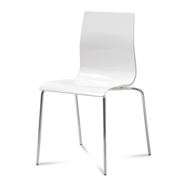 Gel-B Stacking Chair (White Seat / Satinated Aluminum Frame)