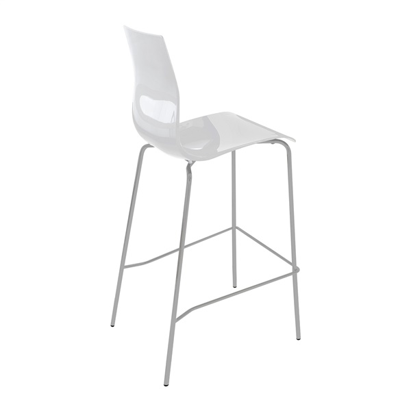 Gel-SGA Stool (White Seat / Satinated Aluminum Frame)