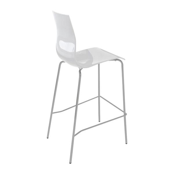 Gel-SGA Stool (White Seat / Satinated Aluminum Frame)