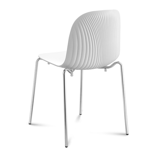 Playa Stacking Chair (White Seat / Chrome Frame)