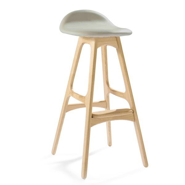 Erik Buch Bar Stool (Natural American Ash / French Cream Leather)