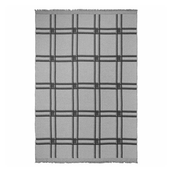 Checked Wool Blend Blanket (Beige)