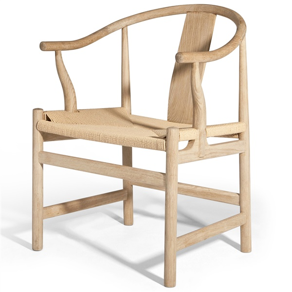 Hans Wegner China Chair (Natural American Ash / Beige Leather)