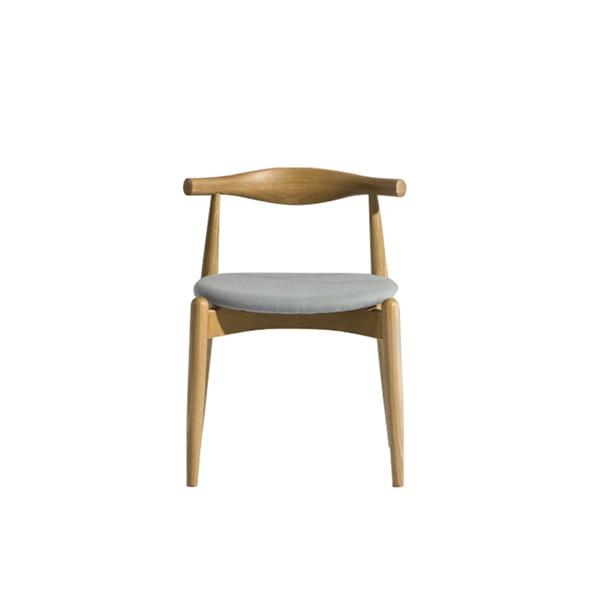 Hans Wegner Cross Elbow Chair (Natural American White Oak / Grey Fabric)
