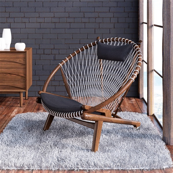 Hans Wegner Hoop Chair (Natural American Walnut / Storm Grey Fabric)