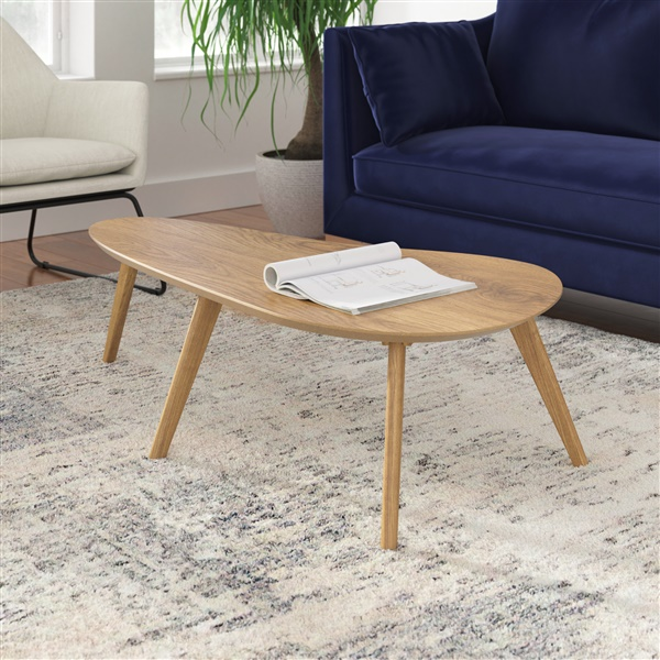 Charmant Kidney Shaped Coffee Table (White Oak)