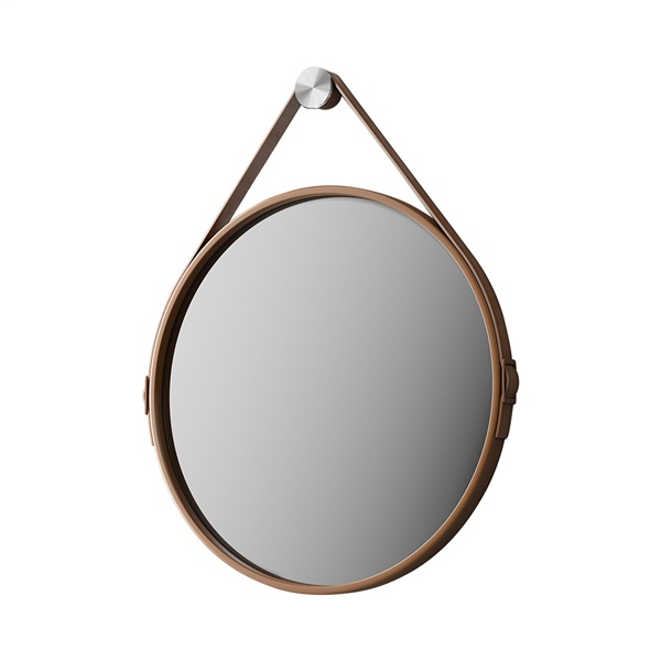 George Mirror (White Leather - 24in)