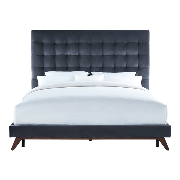 Arianna Velvet Bed (Gray)