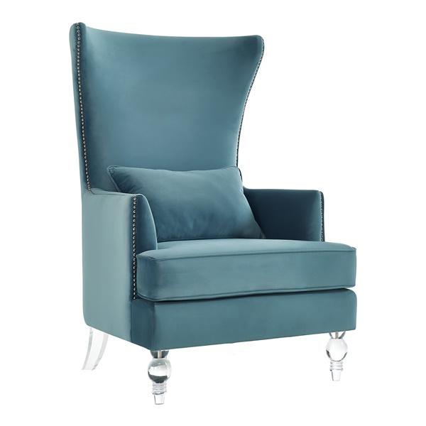 Kitty Velvet Chair with Lucite Legs