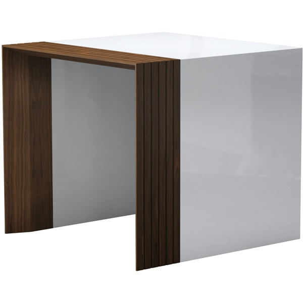 Beckenham Side Table (White Lacquer/Walnut)