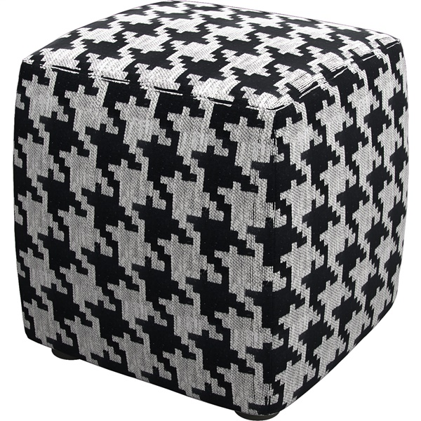 Hester Pouf (Black White Houndstooth)