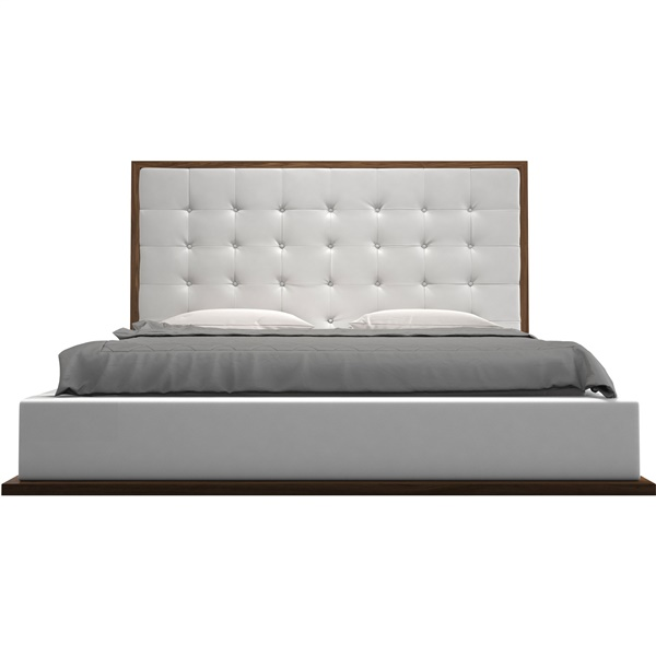 Ludlow Bed (Walnut / White Leatherette)