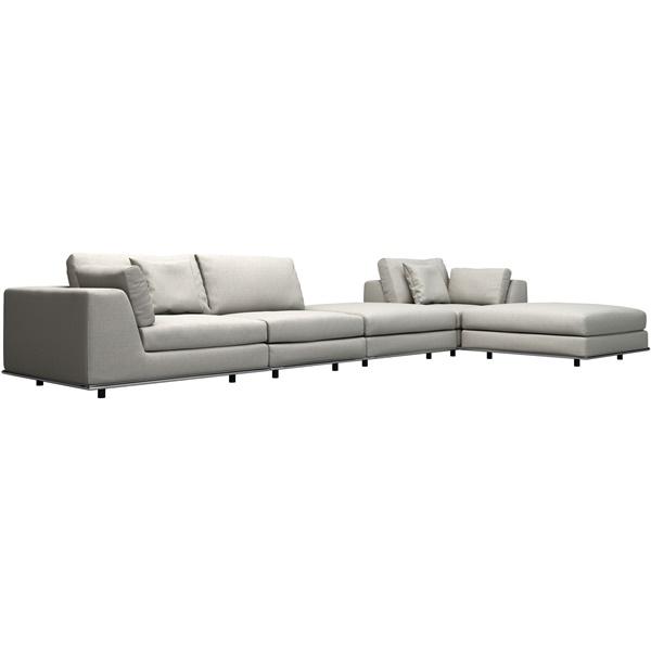 Perry 1 Arm Corner Sofa with 2-Ottoman